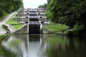 Five-Rise Locks, Bingley. Opened in 1774, they raise the canal level by 59 feet
