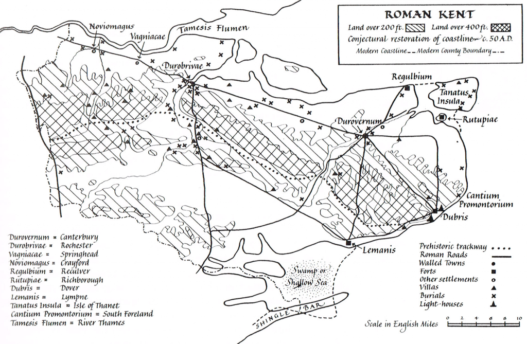 Map Showing Roman Occupation in Kent