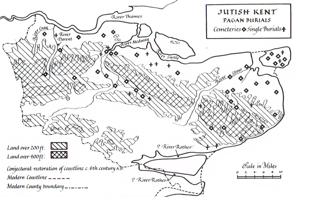 Map showing pagan burials in Jutish Kent