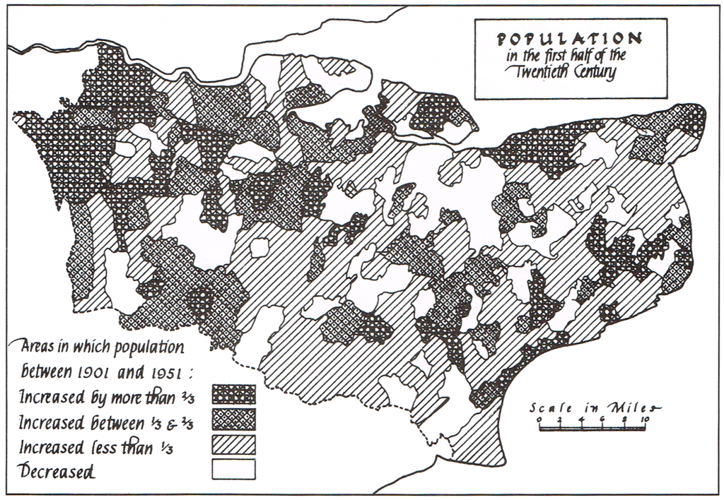 Map showing the population of Kent in the first half of the 20th century