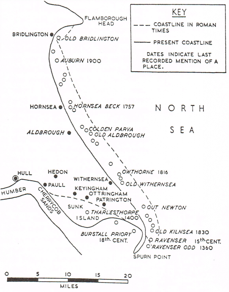 Map of the lost towns of the Yorkshire coast