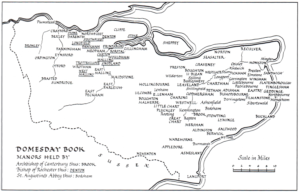 Map showing manors held at the time of the Domesday Book