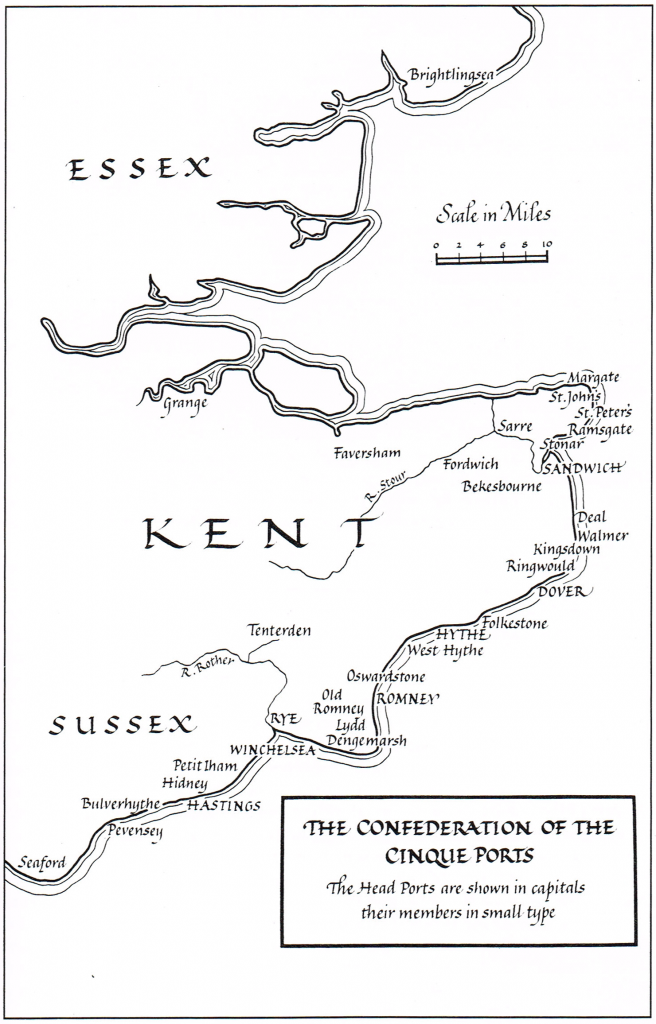 Map showing the Confederation of the Cinque Ports