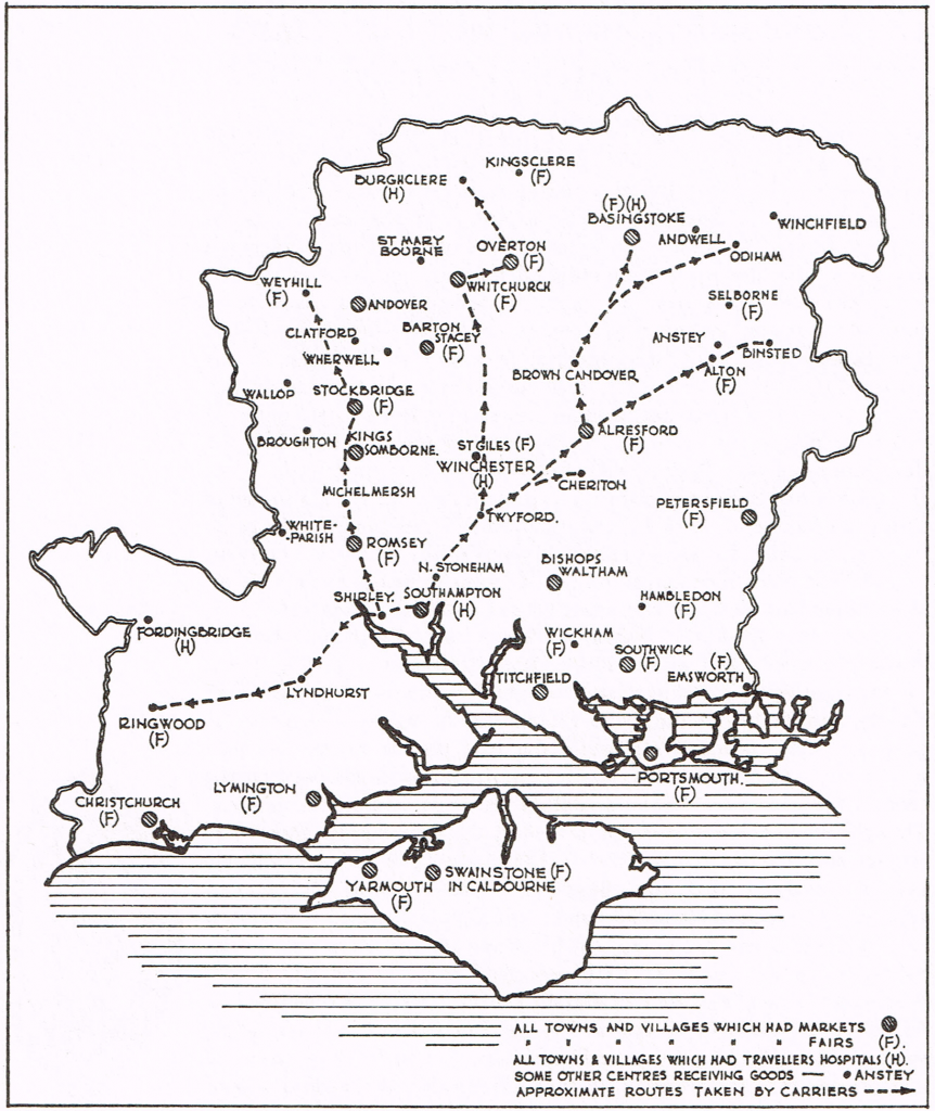 Map 7 Internal trade in late medieval Hampshire