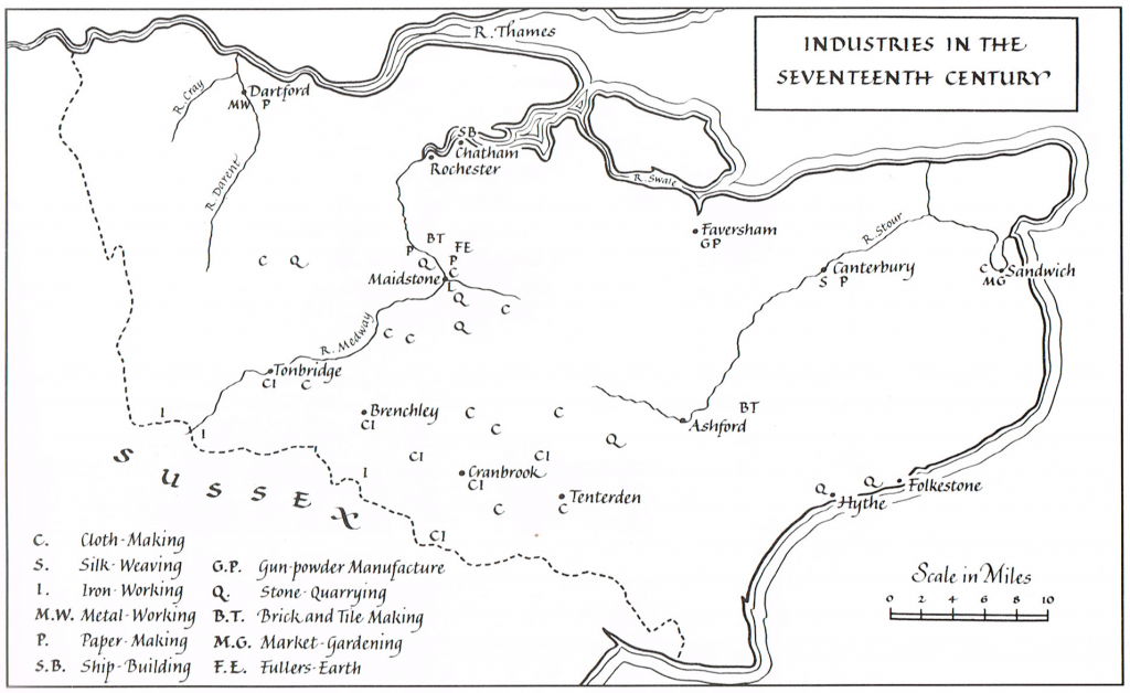 Map showing the location of industries in the 17th century