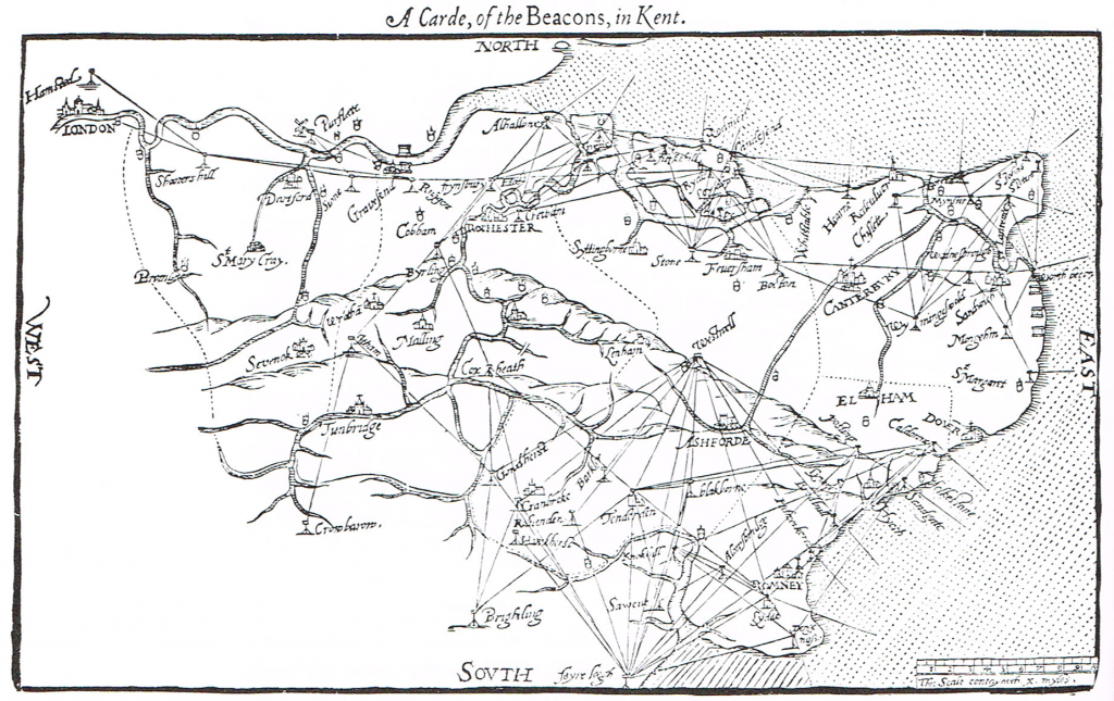 William Lambarde's map showing the beacon system in Kent