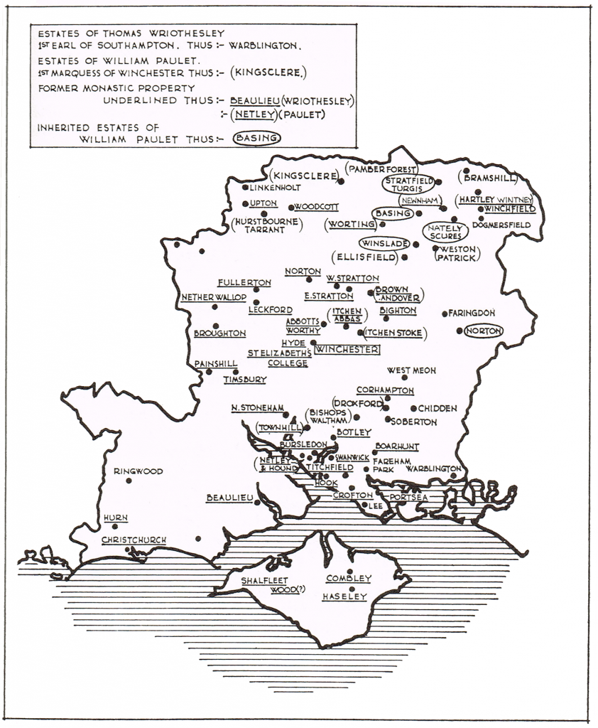 Map 9 New landlords after the Reformation (in Hampshire)