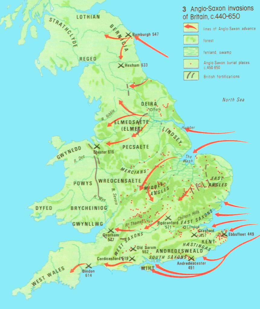Map showing 3 Anglo-Saxon Invasions of Britain, c. 440-650