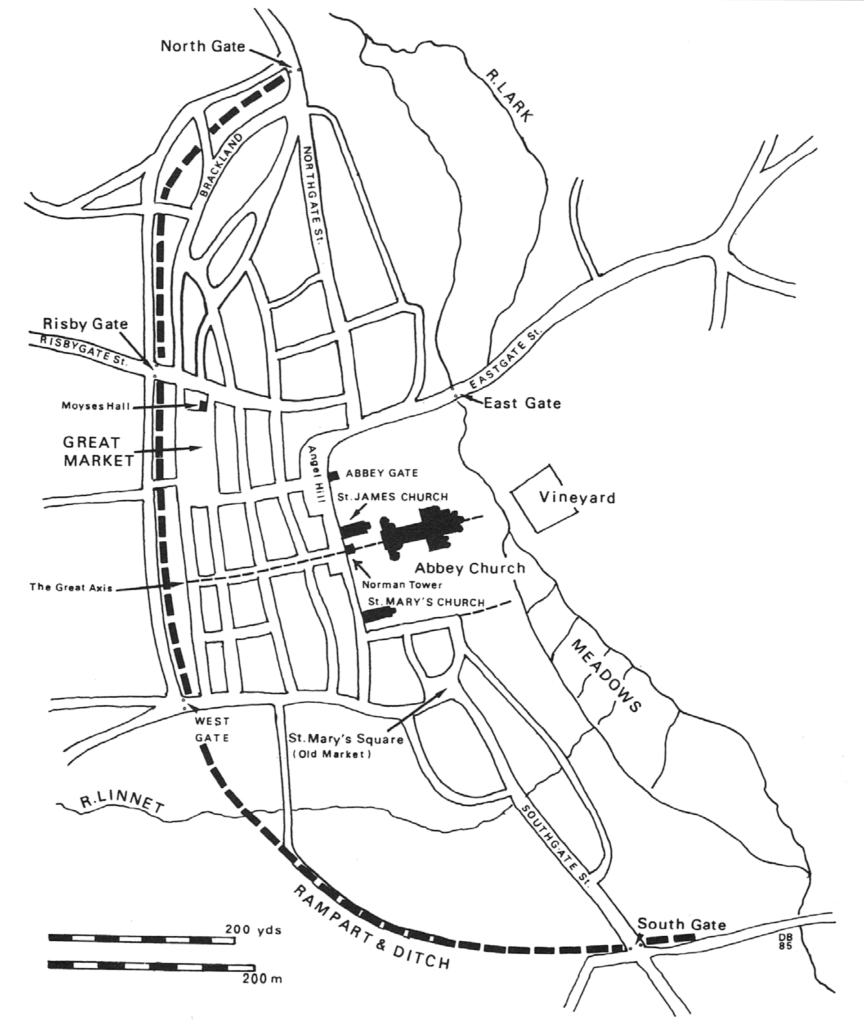 Medieval Bury St. Edmunds: the planned grid of streets, laid out probably in the early 12th century, hinges on the great axis of Churchgate Street, the abbey church and St. Edmund's shrine. The westward expansion of the monastic precinct broke the line of an early north-south road.