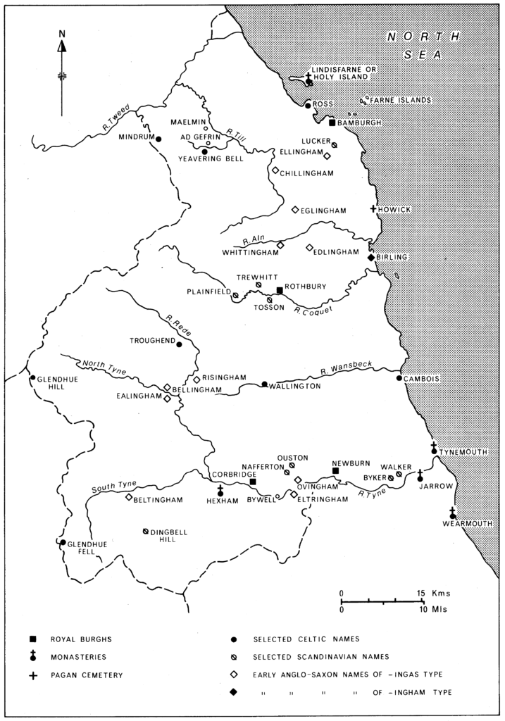 Map showing Anglo-Saxon Northumberland