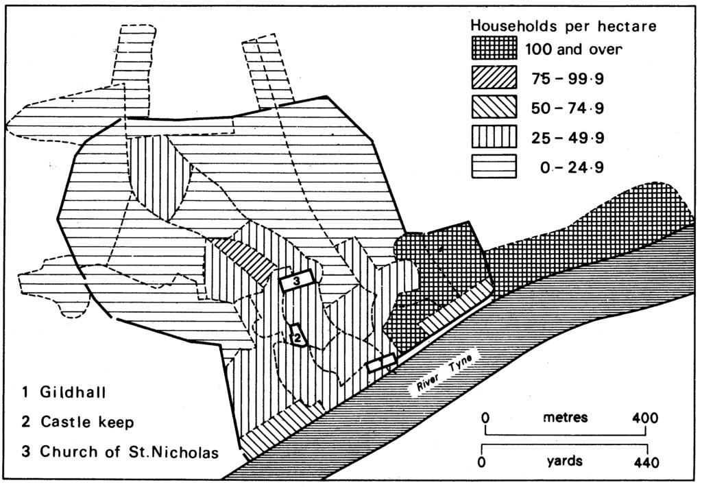 Household density in Newcastle 1665