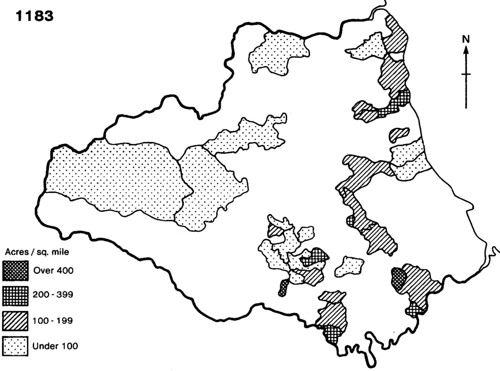 Density of arable land in surveys of the bishop's holding by Le Puiset, 1183