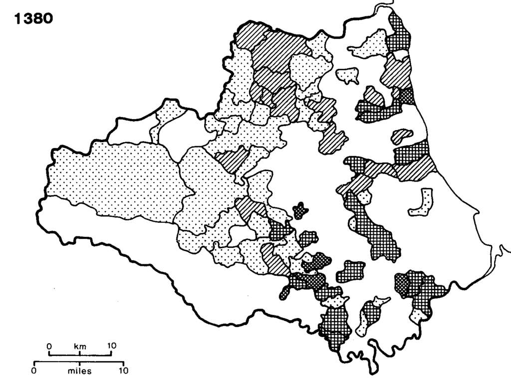 Density of arable land in surveys of the bishop's holding by Hatfield 1380