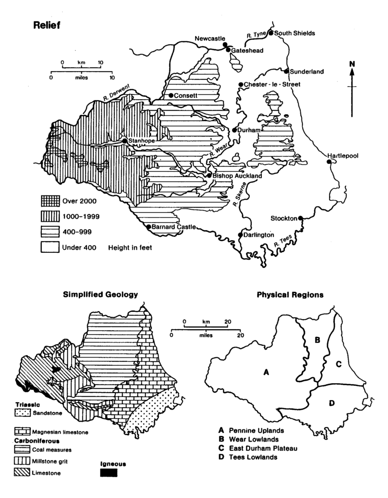 County Durham: physical and geological divisions