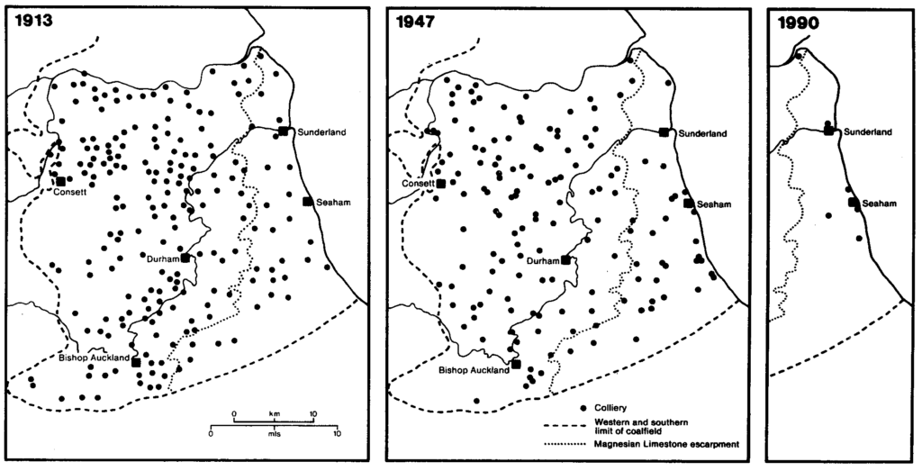 Collieries in 1913, 1947 & 1990