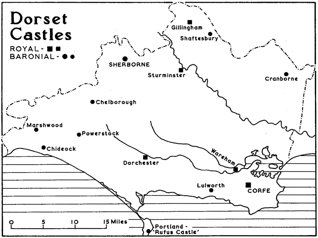 Map of Dorset Castles